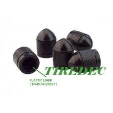 Black Dome Aluminum Tire Valve Caps w/ Nylon Insert  (300/bag)