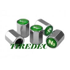Green N2 Octagon Tire Valve Caps (200/bag)