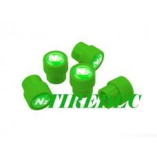 Green Tire Valve Caps with N2 Logo, 200pcs